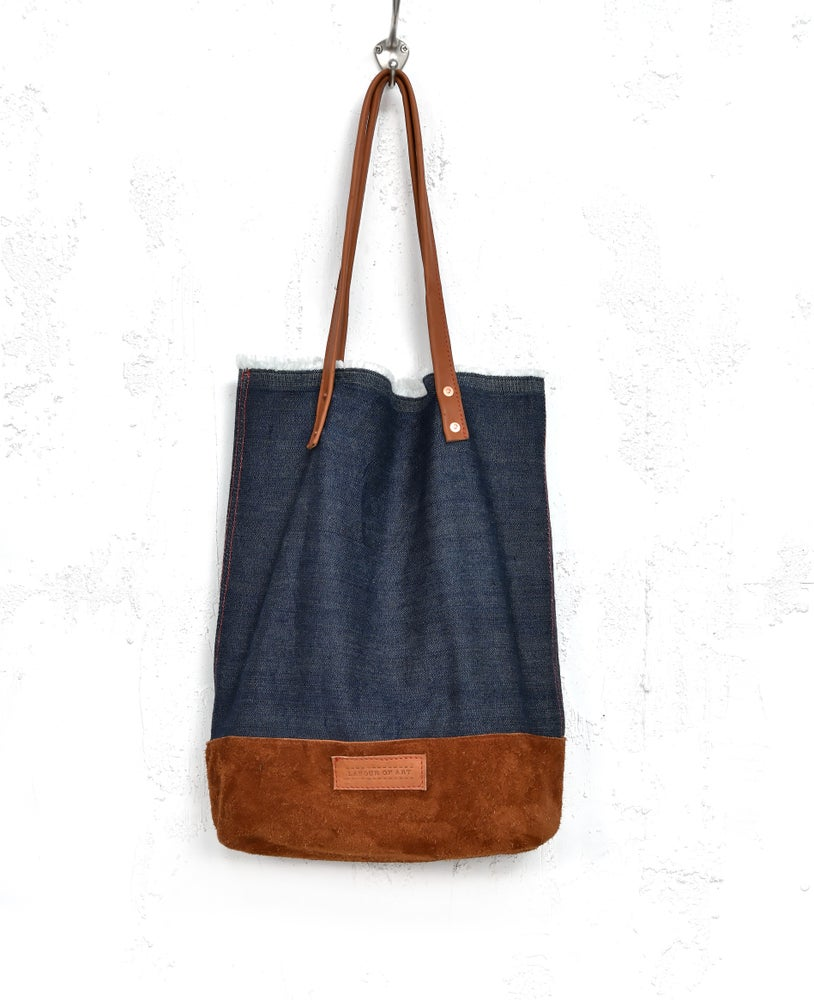 Image of Slouchy Leather Suede Denime Tote Bag