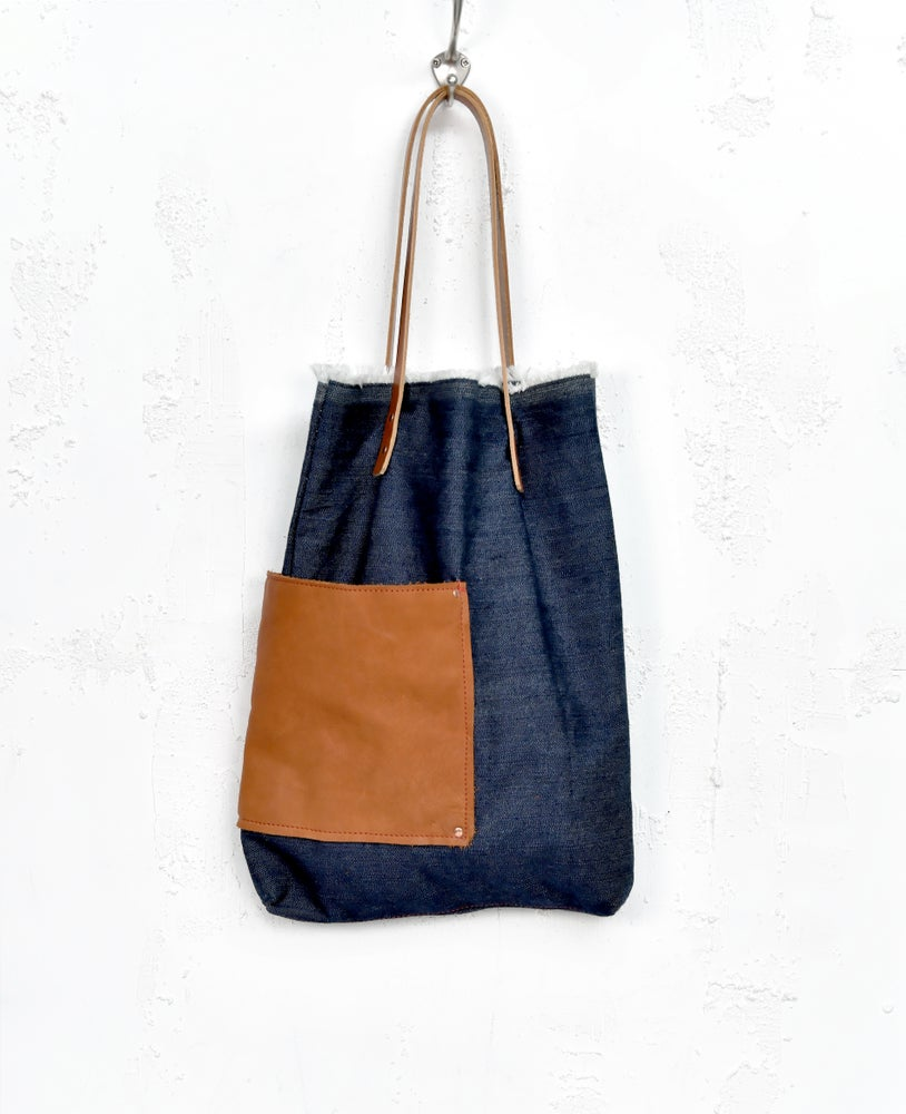 Image of Blue Cotton Leather Bag, Denim Leather Tote Bag, Jeans Leather Shoulderbag