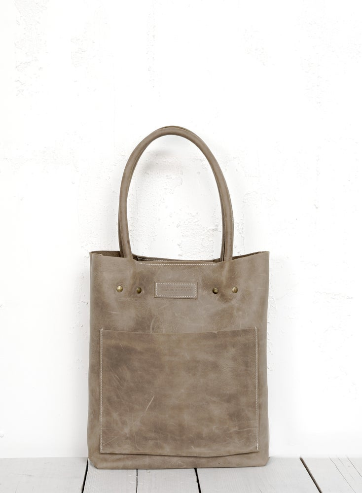 Image of Gray Leather Office Bag