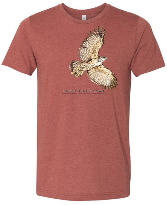 Image of Great Black Hawk t-shirt- heather clay