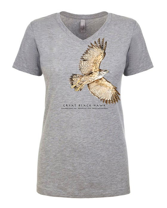 Image of Great Black Hawk Ladies V-neck t-heather gray