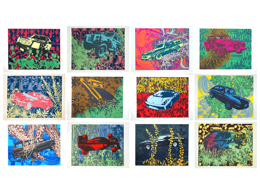 Image of Box Set of 12 Automotive Silkscreen Prints (15″ x 11″)