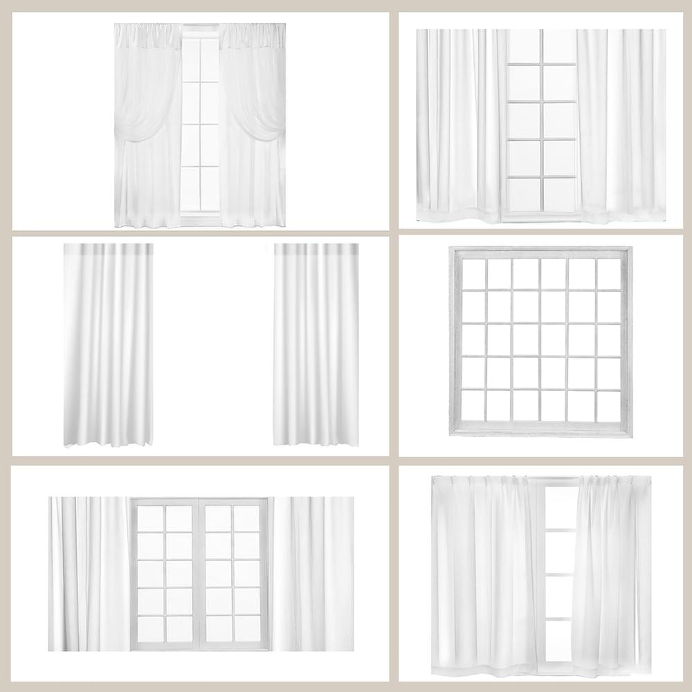Image of White Curtains & Window Overlays