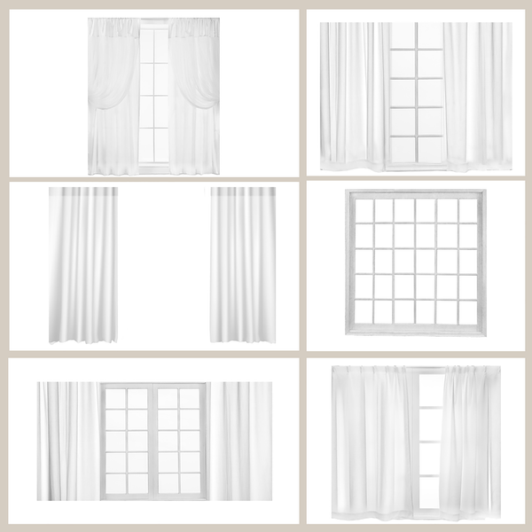 Image of White Curtains & Window Overlays