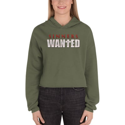 Image of Sinners Wanted Crop Top Hoodie