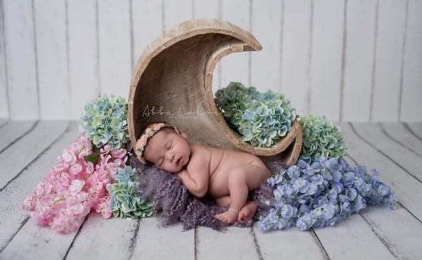 Image of Moon Photography Prop, Wood Moon Prop, Newborn Moon Prop, Moon Basket, Newborn Wood Prop