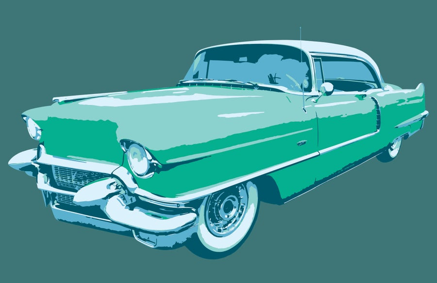 Image of Blue Car - Art Print
