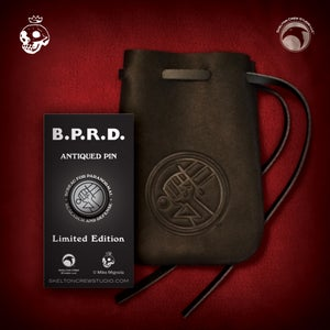 Image of Hellboy/B.P.R.D.: B.P.R.D. antiqued logo pin and thick leather pouch set!