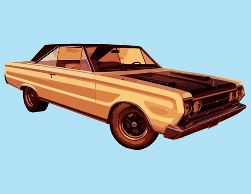 Image of Orange Car - Art Print