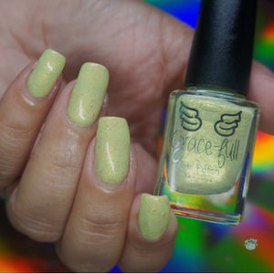 Image of Step in Time - light green crelly with gold shimmer and gold metallic flakes