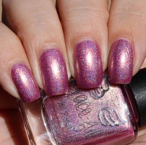 Image of Spoonful of Sugar A pretty peachy pink linear holo with gold shimmer throughout
