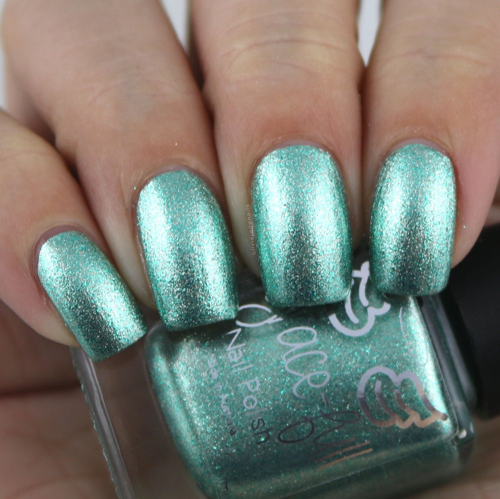 Image of Imagine That A mint green metallic flake foil with teeny silver metallic flakes