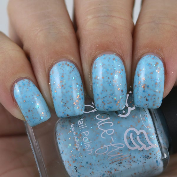 Image of Let's Go Fly a Kite ight blue glitter crelly with copper, aqua blue glitter & iridescent gli