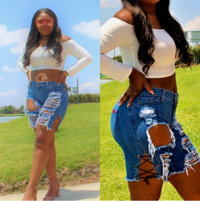 Image of Nesha Laced Jean Shorts