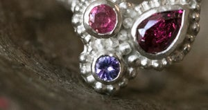 Image of 'Softly' Recycled Silver Ring with Rhodolite Garnet, Tanzanite and Pink Tourmaline – Size Q