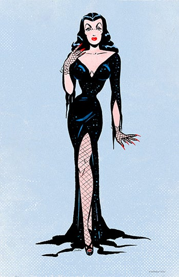 Image of VAMPIRA® Retro Blue Paper Doll 11x17 Poster