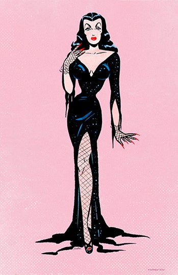 Image of VAMPIRA® Retro Pink Paper Doll 11x17 Poster