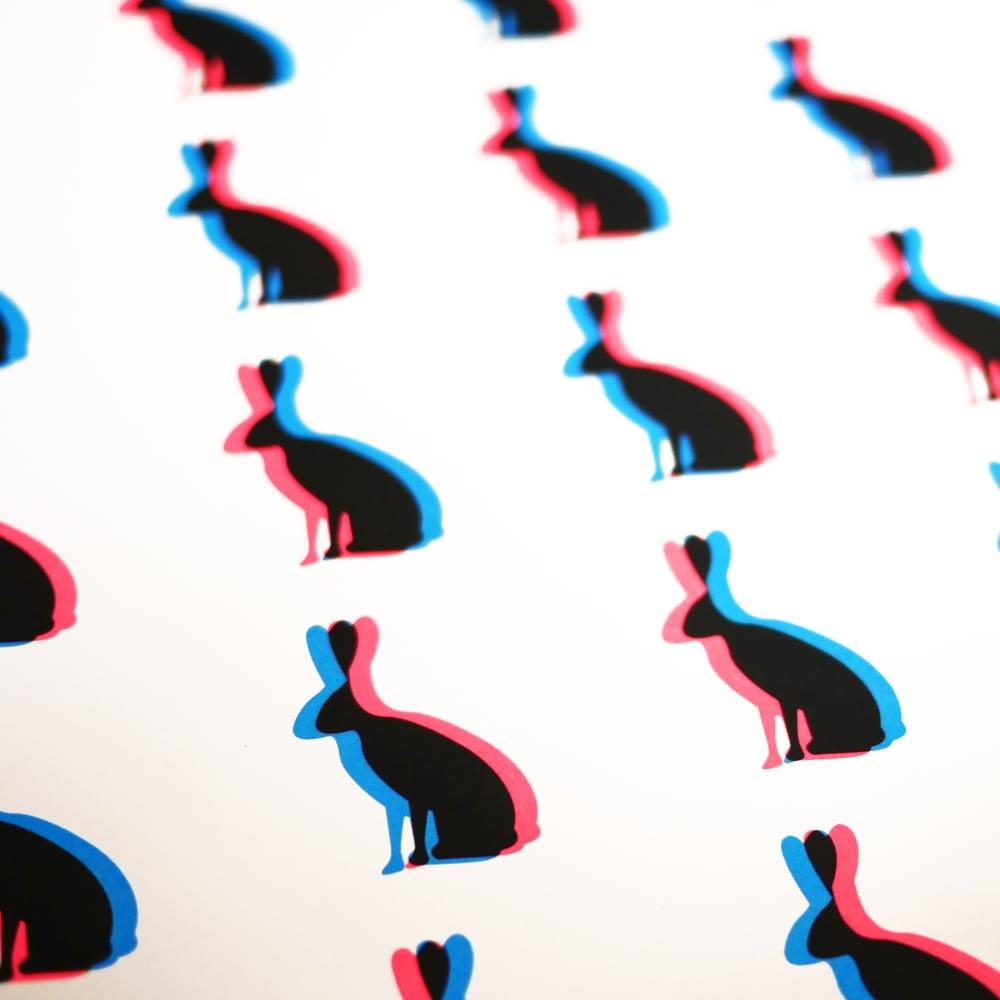 Bunny Love (Fluoro Pink & Blue 3D Screenprint)