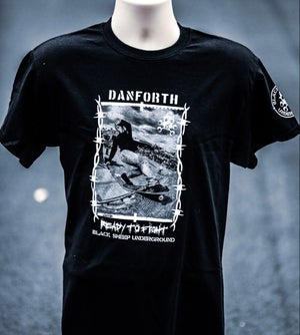Image of Bill Danforth Ready to Fight black ts Grant Brittain photo.