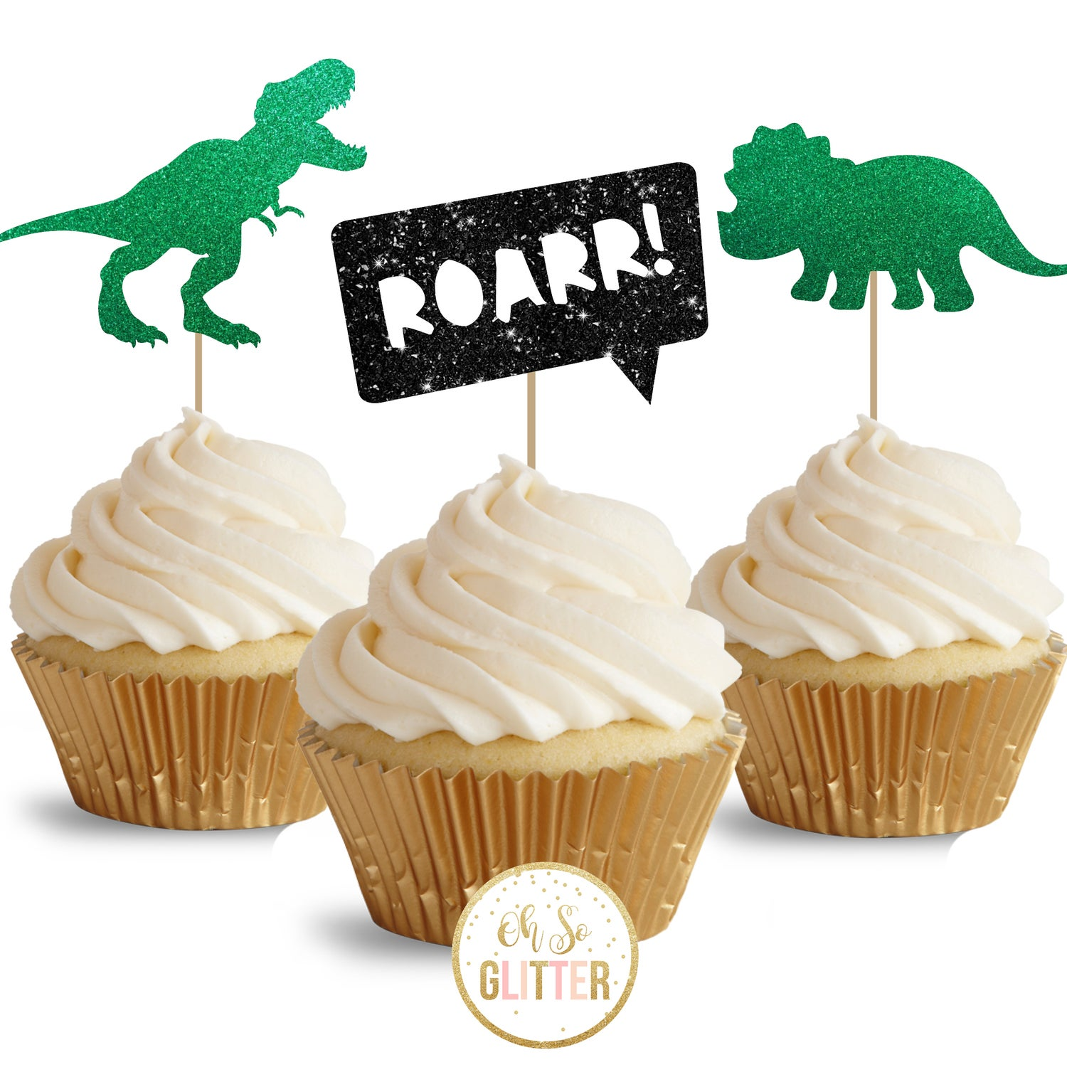 Image of Dinosaur glitter cupcake toppers - pack of 12