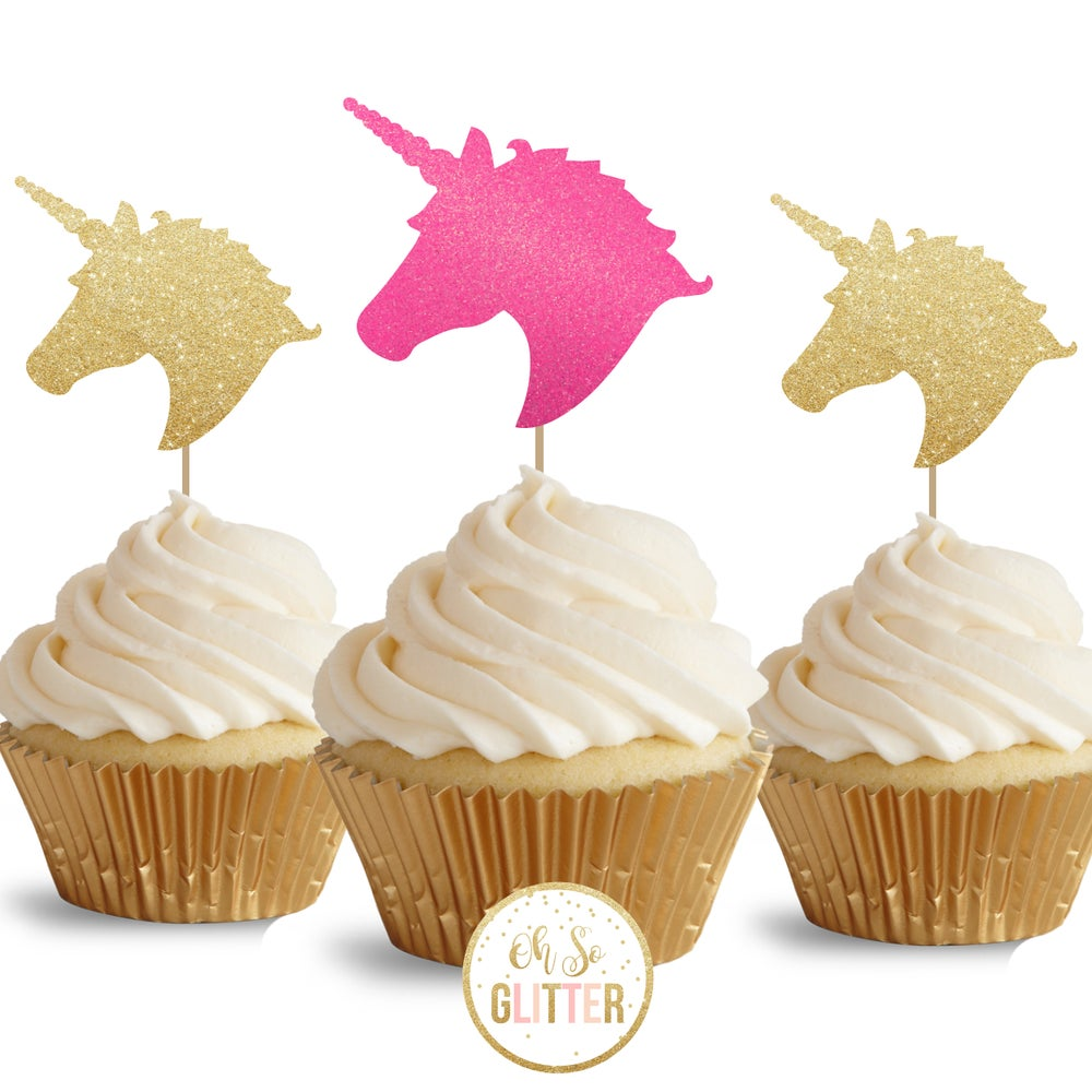 Image of Unicorn Head - glitter cupcake toppers - pack of 12
