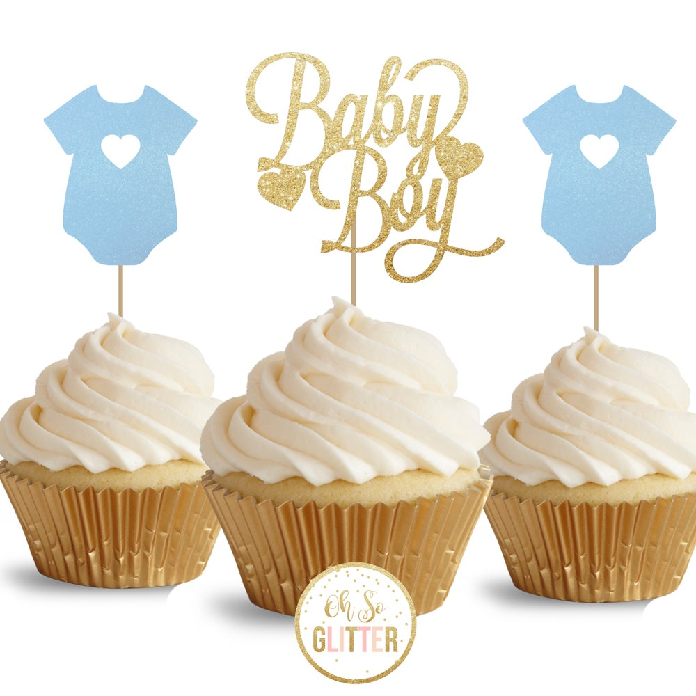 Image of Baby Boy - glitter cupcake toppers - pack of 12