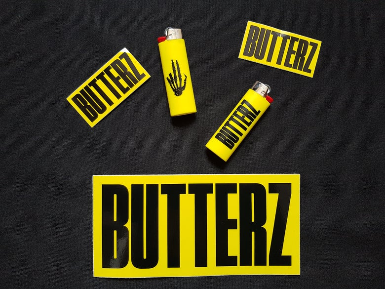 Image of 2x Butterz Lighters + Assorted Sticker Pack *UK Only*