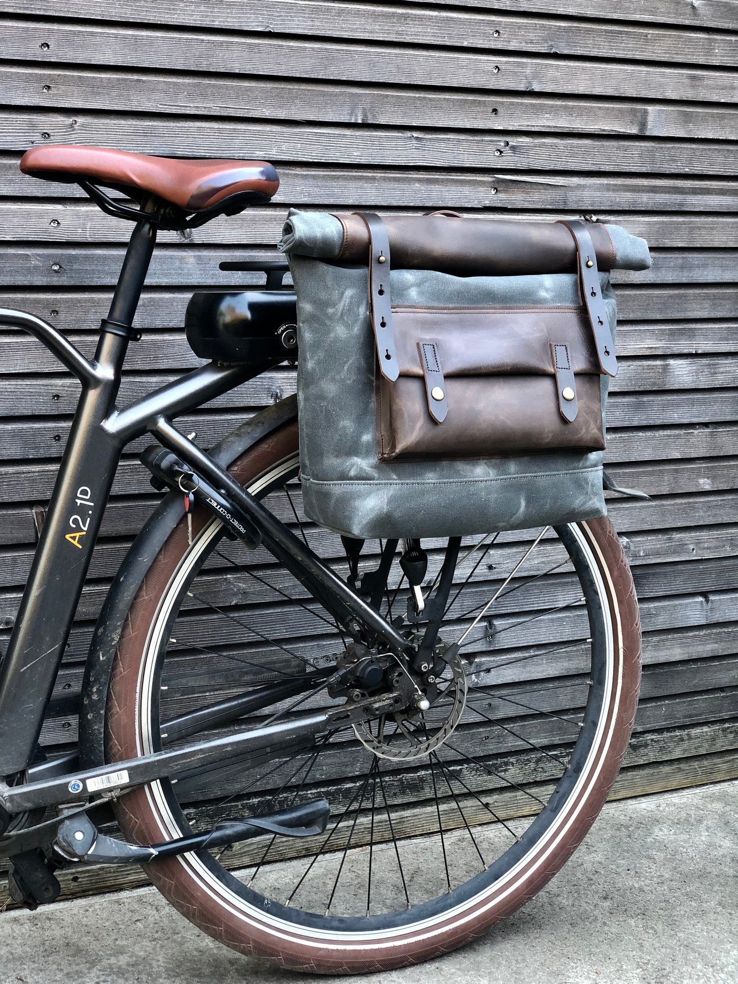 Image of Waxed canvas leather Motorbike bag Motorcycle bag Bicycle bag in waxed canvas and leather