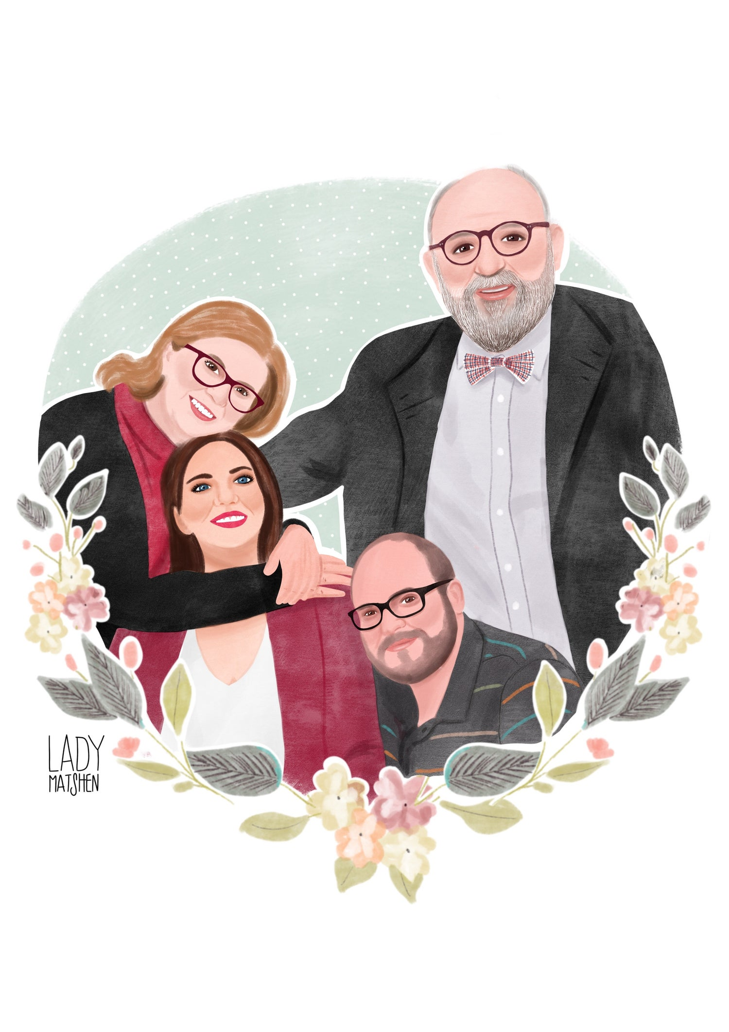 Image of Ilustración digital 4 PERSONAS / Illustrated portrait 4 PERSONS