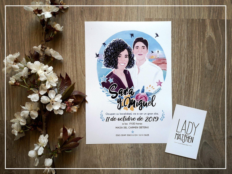 Image of Invitaciones de boda (una cara) / Wedding invitations (one side)