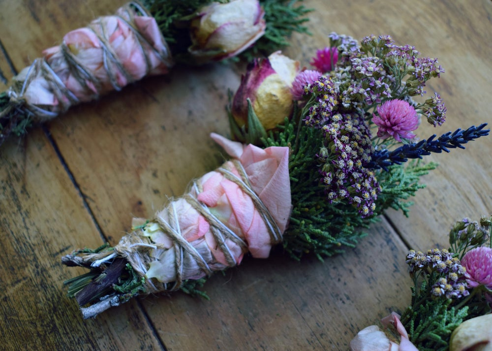 Image of Wild Floral Sacred Smudge Wand | smudge stick | empath + boundaries + positive vibes