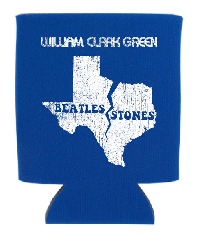 Image of Blue Beatles Stones Koozie