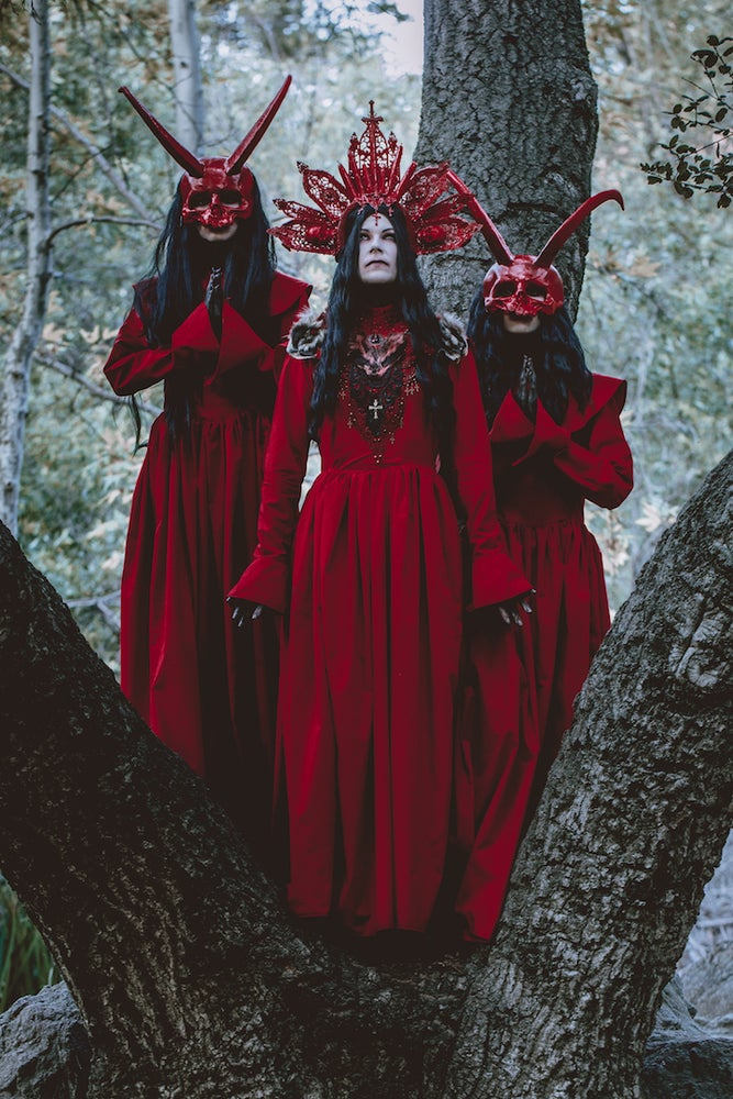Image of LA SANGRE DE MUERTE - Crimson red cathedral headdress