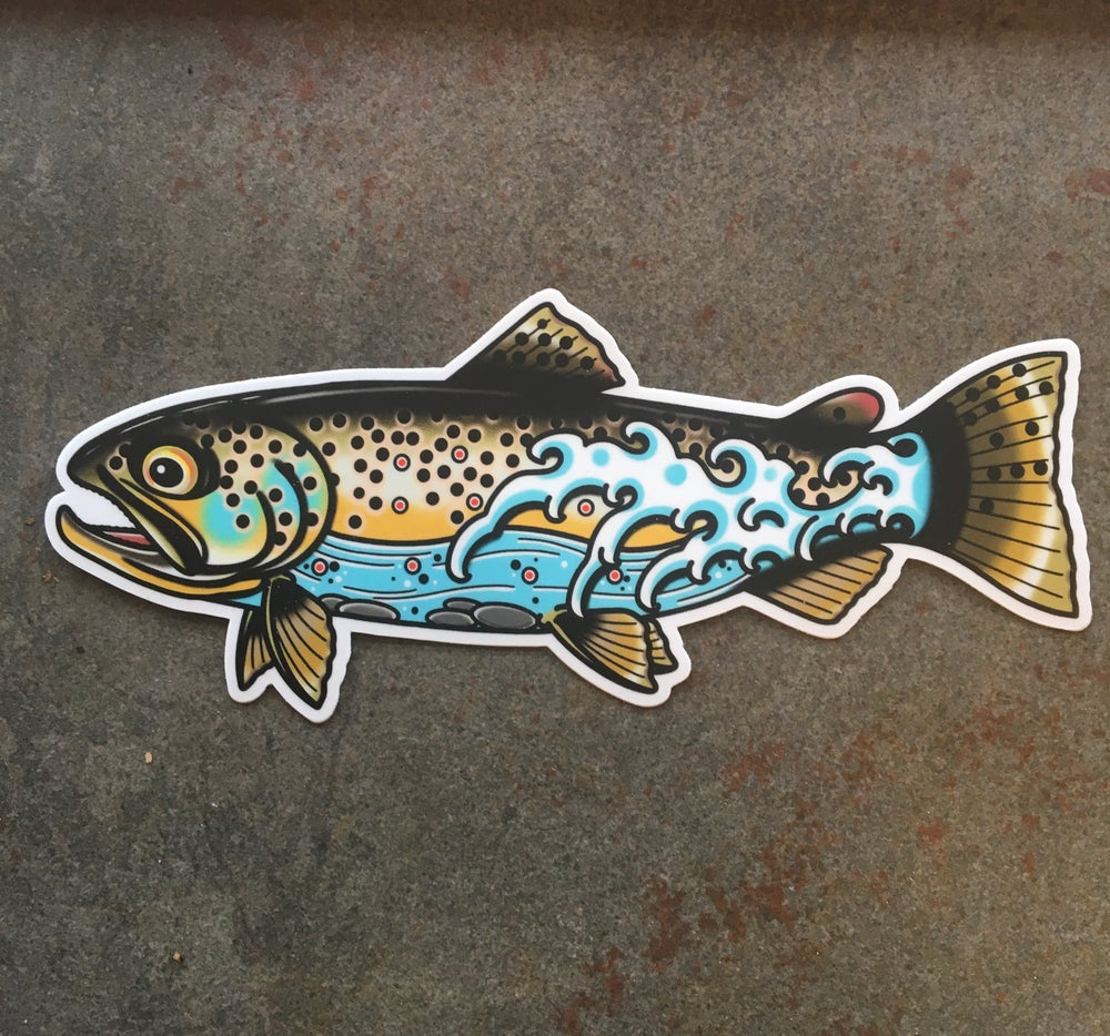 Image of Stay Wet Brown Trout Sticker