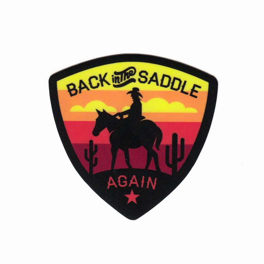 Image of Back in the Saddle Again Sticker