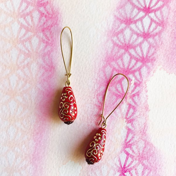 Image of Vintage Lucite Earrings - Red and Gold Floral