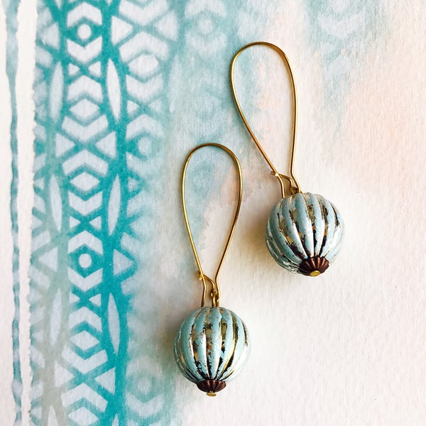Image of Vintage Lucite Earrings - Fluted Turquoise