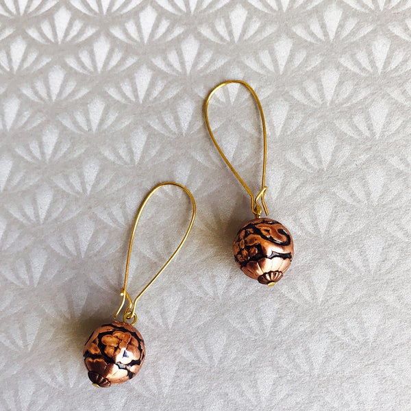 Image of Vintage Lucite Earrings - Copper Flower