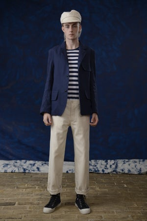 Image of VINCENT LINEN JACKET BLUE £299.00