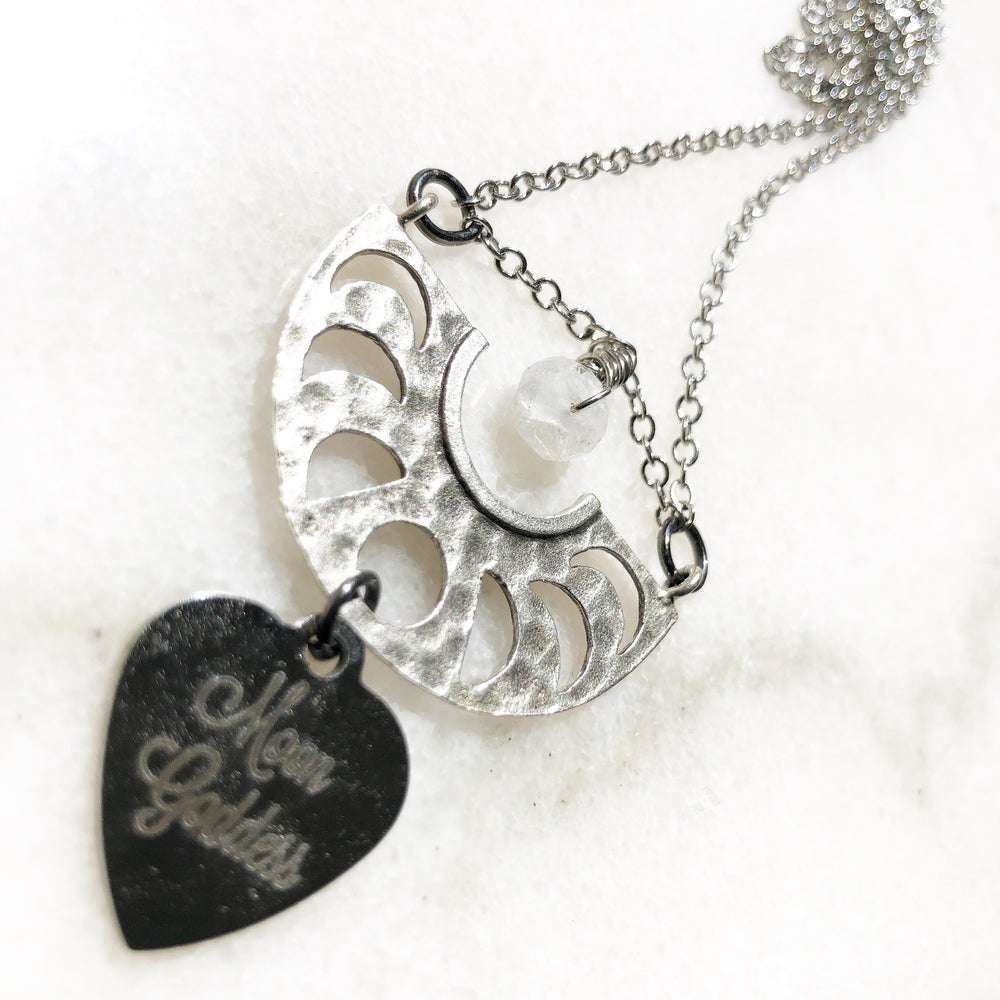 Image of Moon Goddess/Moon Cycle Necklace with Moonstone