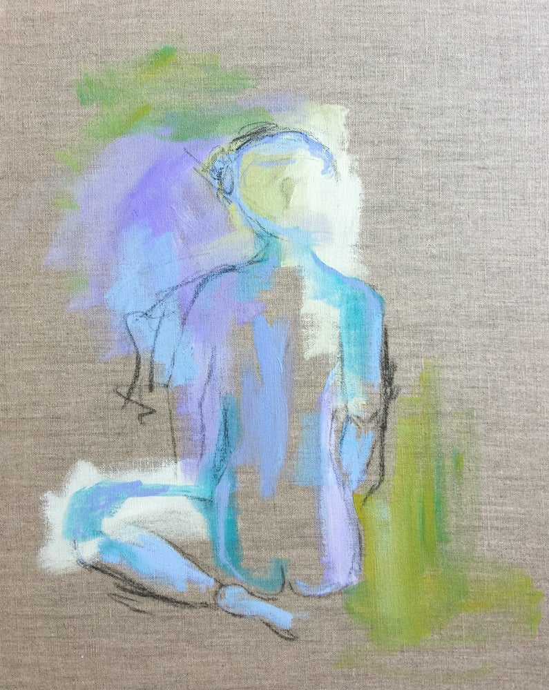 Image of Multicolor figure study on linen 16 x 20