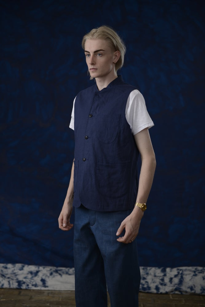 Image of VINCENT LINEN GILET BLUE