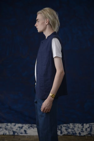 Image of VINCENT LINEN GILET BLUE £195.00