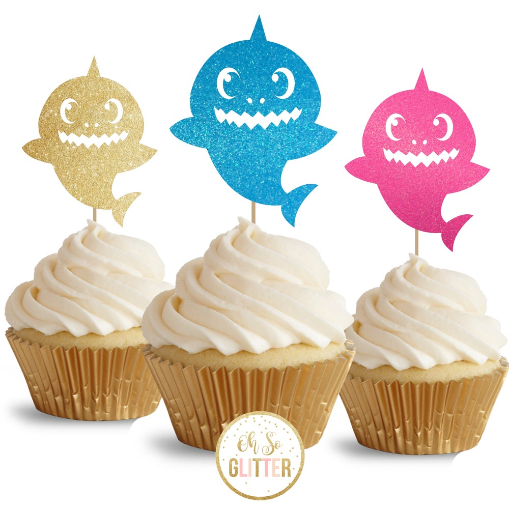 Image of Baby Shark - glitter cupcake toppers = pack of 12