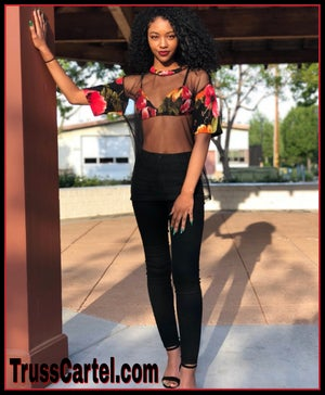 Image of SHEER TOP WITH FLORAL BRALET