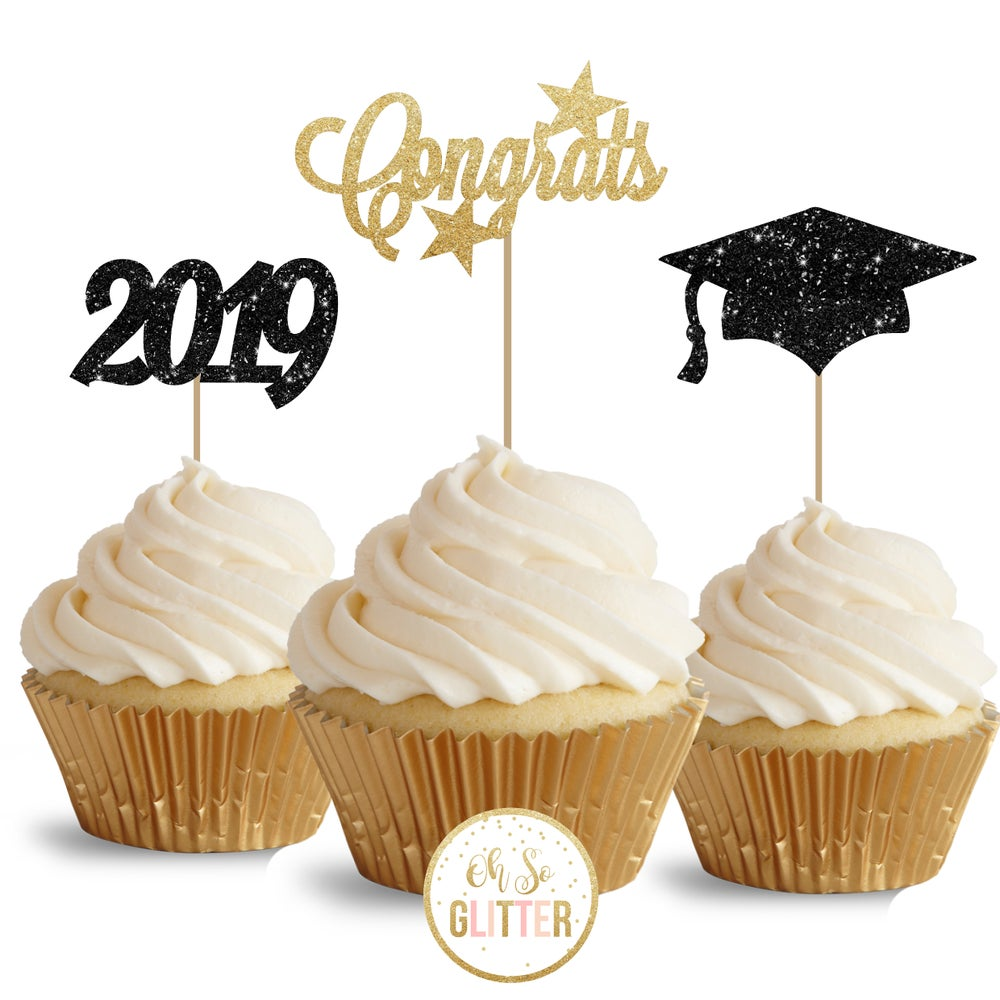 Image of Graduation Glitter Cupcake Toppers - pack of 12