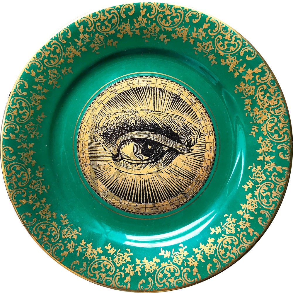 Image of Lover's eye Gold - Vintage Porcelain Plate - #0667 Unique Piece