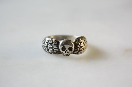 Image of Large Winged Death's Head Ring