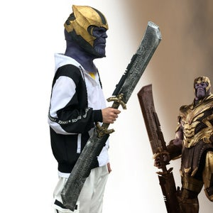 Image of 2019 Endgame Thanos DOUBLE-EDGED SWORD Cosplay Costume Prop Weapon Avengers