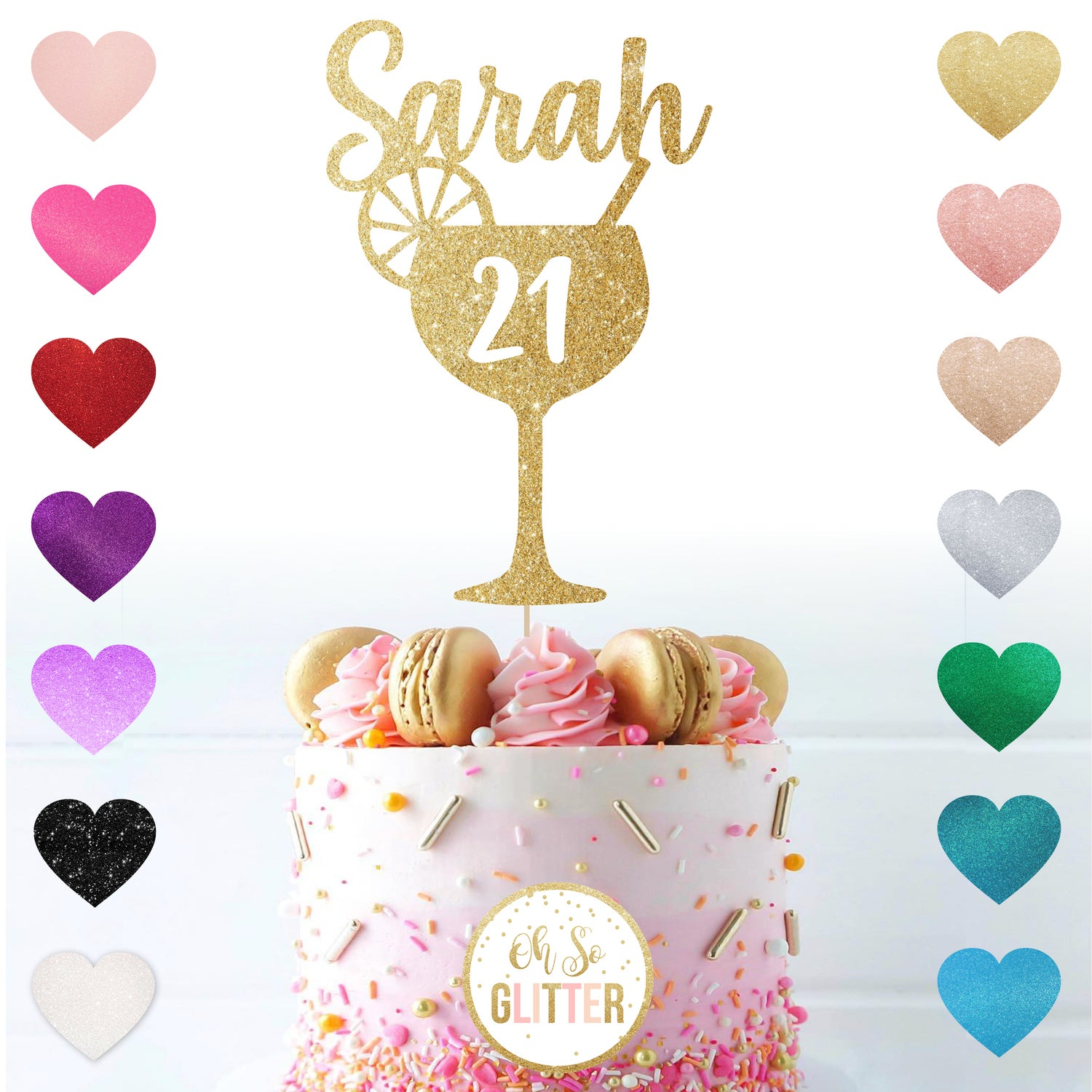 Image of Cocktail - customised glitter cake topper